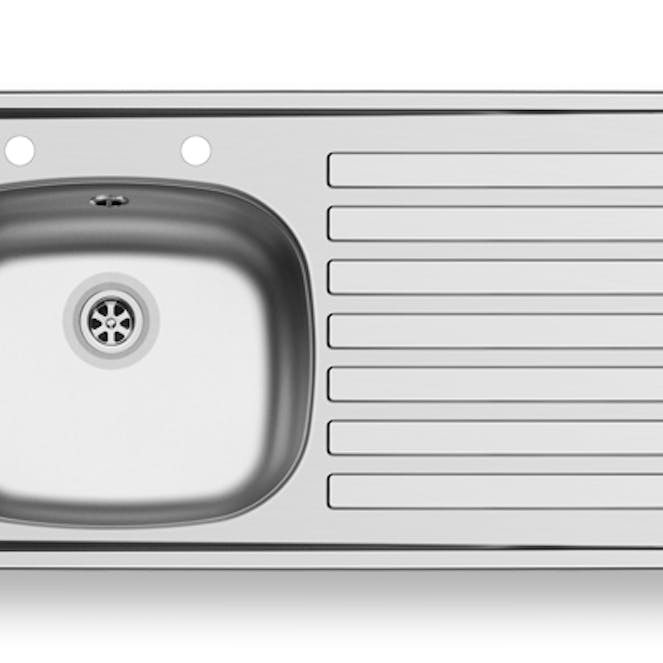 Designer Pyramis 94X49 1 Bowl Sink With Right Hand Drainer - Stainless Steel