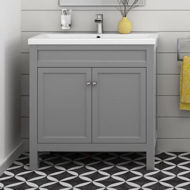 reputable site 51804 69538 Grey bathroom vanity unit 800mm with sink