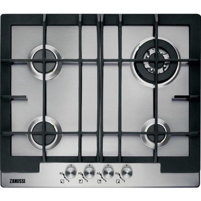 Zanussi ZGG66424XS 60cm Wide 4 Burner Gas Hob - Stainless Steel