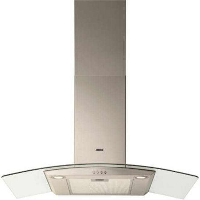 Zanussi ZHC9234X Curved Glass Canopy 90cm Chimney Cooker Hood - Stainless Steel & Glass